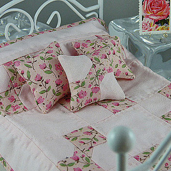 Cottage Chic Quilt Dollhouse Quilt Little Quilt Mini Inch Scale Small Pink Rose Bedding Matching Decorator Pillows Tiny Bedroom Full Queen