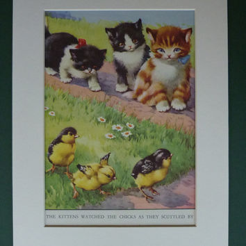 Vintage 1950s Kittens Print - Cute Cats Hunting - Baby Chicks - Country Cottage - Garden - Summer - Mounted - Playful - Matted