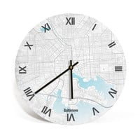 Baltimore City, Maryland, Retro Map Art Wall Clock