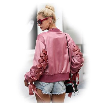 Until The Night Lace Up Bomber Jacket