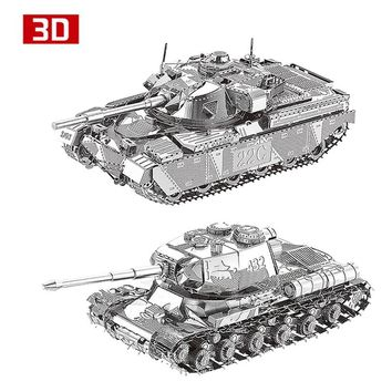 2pcs 3D Metal Nano Puzzle JS-2 Iwan The Great's Bell Tower Chieftain MK50 Tank Assemble Model Kit DIY 3D Laser Cut Jigsaw Toy