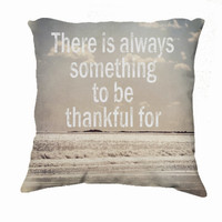 "Throw Pillow-Home Decor- ""Thankful"" 18 x 18 Pillow-Typography--Silver-Metallic-Home Decor-"