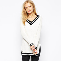 White V-neck Striped Sweatshirt