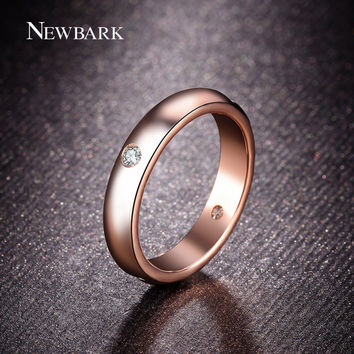 18k Rose Gold Plated Unisex 1.5mm Thick Wedding Band with Four pcs Round cz Synthetic Diamond