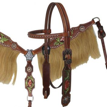Showman® Painted Tooling Headstall and Breast collar set with Horse Hair Fringe