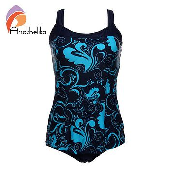 Andzhelika One Pieces Swimsuit 2018 New Plus Size Swimwear Print Bodysuit Vintage Retro Bathing Suits Swimming Suit  DY7889