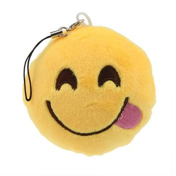 Cute Emoji Smiley Emoticon Hungry Key Chain Soft Toy Gift Pendant Bag Accessory