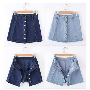Denim  Short A-line Mini Skirt