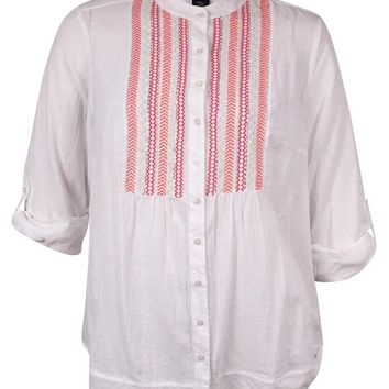 Style & Co. Women's Beaded Embroidered Cotton Gauze Shirt