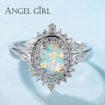 Angel Girl 925-Sterling-Silver Jewelry Luxury Oval Opal Rings With Cubic Zircon Crystal S925 Solid Silver Ring For Women