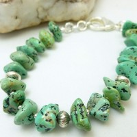 Kingman Green Blue Turquoise Nugget Sterling Silver Beaded Bracelet
