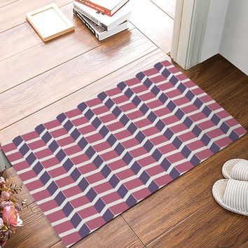 Autumn Fall welcome door mat doormat Chevron Wave Brick Wall Purple Pink s Floor Bath Entrance Rug Mat Indoor Bathroom Kitchen Farmhouse Home Decor  AT_76_7