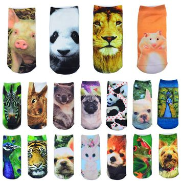 All Over Print Animals Multiple Colors Cute Ankle Socks Funny Crazy Cool Novelty Cute Fun Funky Colorful