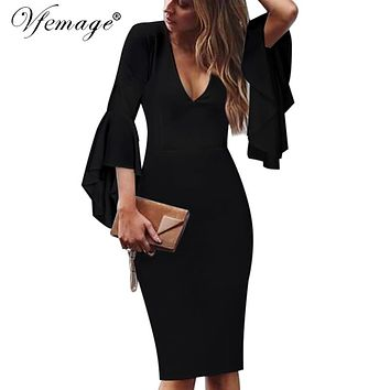 Vfemage Womens Sexy Deep V-neck Flare Bell Long Sleeves Elegant Work Business Casual Party Slim Sheath Bodycon Pencil Dress 7925