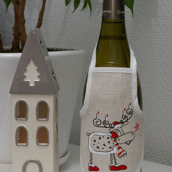 Christmas decoration little pinafore for wine or champagne bottle, apron with Christmas elk decoration, Christmas gift ideas