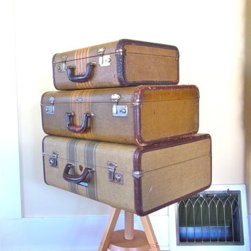 tweed striped suitcase tweed suitcase old luggage / old suitcase stacking stackable suitcases 1940s suitcases / tweed striped suitcase