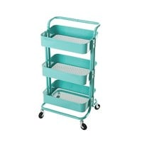 HollyHOME 3-Tier Metal Utility Service Cart Rolling Storage Shelves with Handles, Blue Storage Utility Cart