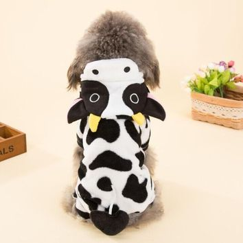Cute Pet Dog Costume Warm Flannel Hoodies Outfit For Dog Winter Dog Clothes