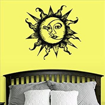 Wall Decal Vinyl Sticker Decals Art Decor Design Sun Sunshine Moon Stars Night Nural Pattern Damask Dorm Fashion Bedroom Style (r414)