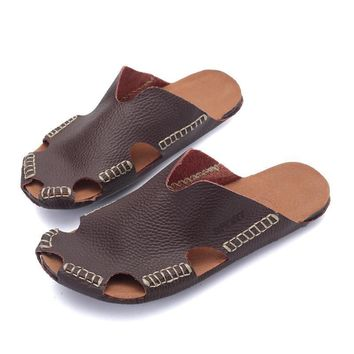 Design Summer Casual Stylish Permeable Leather Sandals [6542335939]