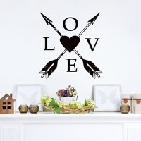 Love Wall Decals Boho Arrows Decal Quote Heart Vinyl Stickers Home Bedroom Bohemian Decor  T81