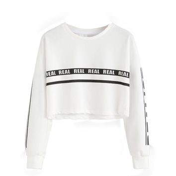 OB Women Fashion White Letter Print Crop Sweatshirt Top Blouse