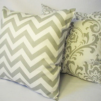 2 Chevron and Damask Decorative Pillow Covers Storm Grey and White - 18 x 18 inches Throw Pillow Cushion Cover Accent Pillow