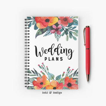 Wedding Plans - Spiral Notebook With Lined Paper, A5 Writing Journal, Diary, Lined Journal, Floral Notebook, Engagement Gift, Bridal Gift