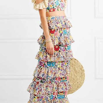 All Things Mochi - Petra tiered printed cotton-voile maxi skirt
