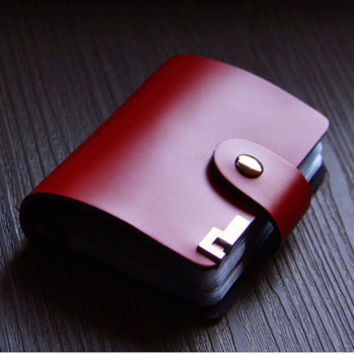 26 card position Genuine leather business card holder card fashion bank credit card holder package