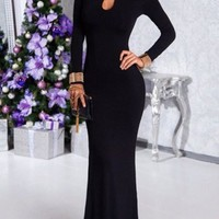 Black Cut Out Round Neck Long Sleeve Elegant Cocktail Party Maxi Dress
