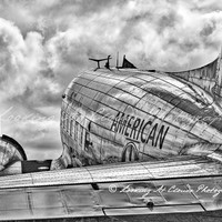 DC-3, American Airlines, vintage airplane art photography, black and white aviation, pilot gift