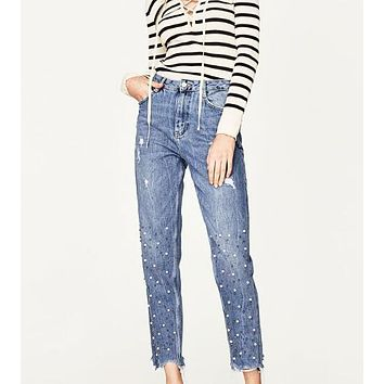 Woman New Fashion Blue Ankle-length High rise Moms Jeans With Pearls Beaded Front zip button back pockets Unstitched Frayed hem