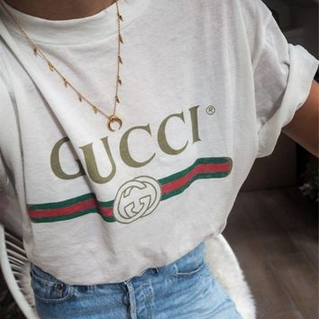 GUCCI street fashion men and women models wild classic letter printing round neck short-sleeved T-shirt white