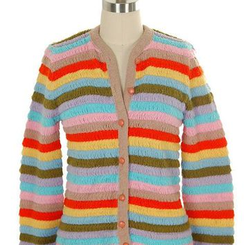 Vintage Cardigan Sweater Womens  Colorful Stripes Acrylic Unique Weave 1960s M