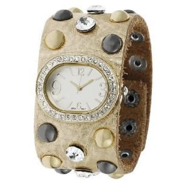 GP Designs Women's Rhinestone-accented Studded Leather Snap Watch