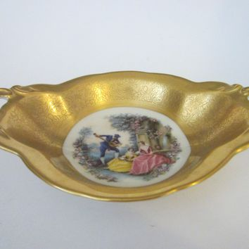 Pickard China Romantic Victorian Gold Dish With Handles And Signatures
