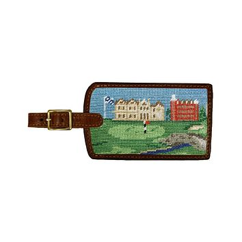 St Andrews Scene Needlepoint Luggage Tag by Smathers & Branson
