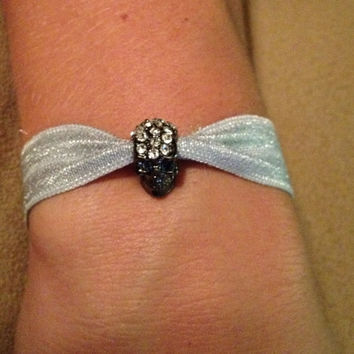 Gunmetal Rhinestone Skull Elastic Hair Ties (and Bracelets)