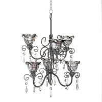Midnight Blooms Tiered Candle Chandelier