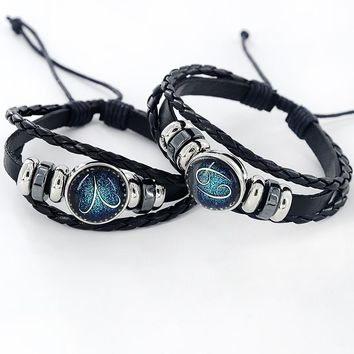 Black Leather Zodiac 12 Constellation Zodiac Sign with beads zodiac Bracelet leather bracelet SL-459