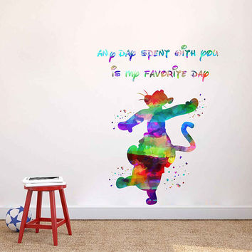 kcik1986 Full Color Wall decal Watercolor Character Disney Winnie the Pooh Tigger quote Sticker Disney children's room
