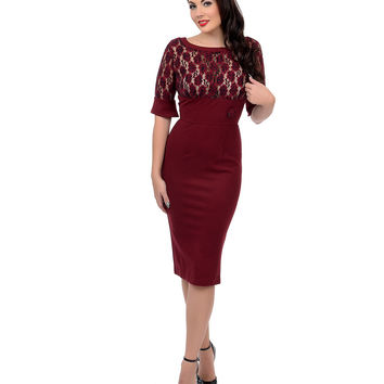 1960s Style Burgundy Floral Lace Merlot Wiggle Dress