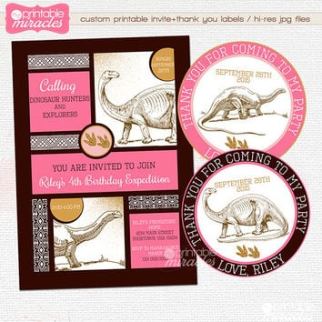 Pink gold dinosaur invitation, Printable dinosaur birthday invitation for girls, Kids dino birthday invites, Digital dinosaur invite card