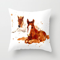 HORSE art, horse paintings, foal painting, watercolor horses, watercolour horse Throw Pillow by Eastwitching