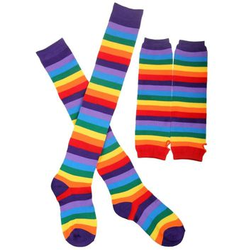 Free Shipping 2018 New Fashion Gay Rainbow Striped Gloves And Sock Sets For Women Mens Festival
