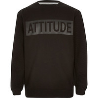 River Island Boys black attitude sweatshirt