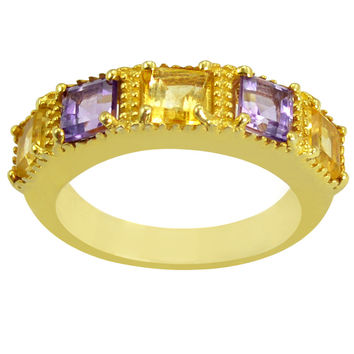 1.62 CTTW Genuine Citrine and Amethyst 10K Yellow Gold Plated Beautiful and Stylish Ring in Sterling Silver