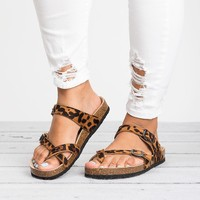Criss Cross Footbed  Sandals - Cheetah