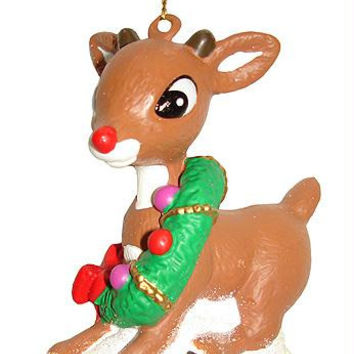 Christmas Ornament - Rudolph With Wreath
